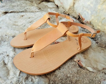 10% OFF Ancient Greek Leather Sandals / Natural / Gold / Silver /T-bar Genuine High Quality Greek Leather Sandals