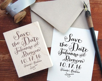 Save the Date Stamp #2 - Calligraphy - Personalized