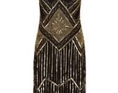 PETITE Length US2 UK6 AUS6 EU34 Edith Black Gold Flapper Dress Gatsby Charleston Downton Abbey Art Deco Bridesmaid Wedding Guest Speakeasy