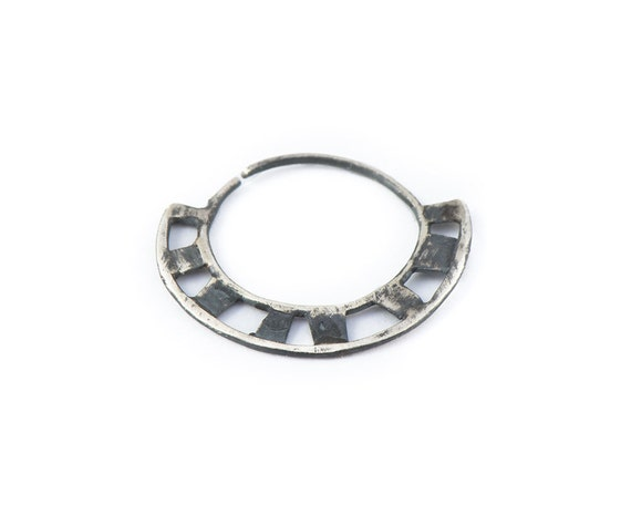 Items similar to special septum jewelry unique septum ring oxidized silver piercing nose - Decorative septum jewelry ...