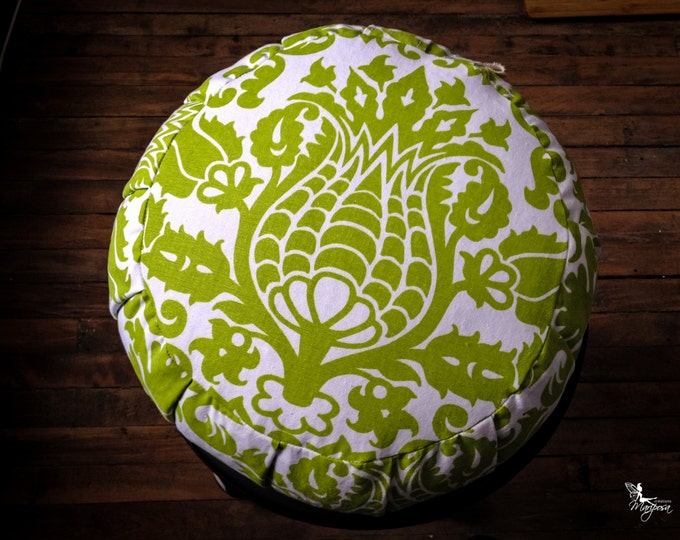 Meditation cushion traditional Zafu cotton - Lime green print -  pillow with handle and velcro closing Organic buckwheat hulls ZT-IL