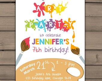 Art Party Invitation Art party invite Rainbow Art Party Art Birthday Invitation Paint Party Birthday Invite Artsy PDF Digital PRINTABLE DIY