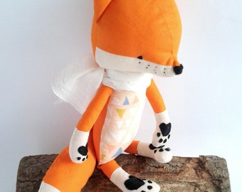 ESTI the fox. made-to-order. gift for children. eco toy. stuffed fox. toy fox. kids room decorative fox.
