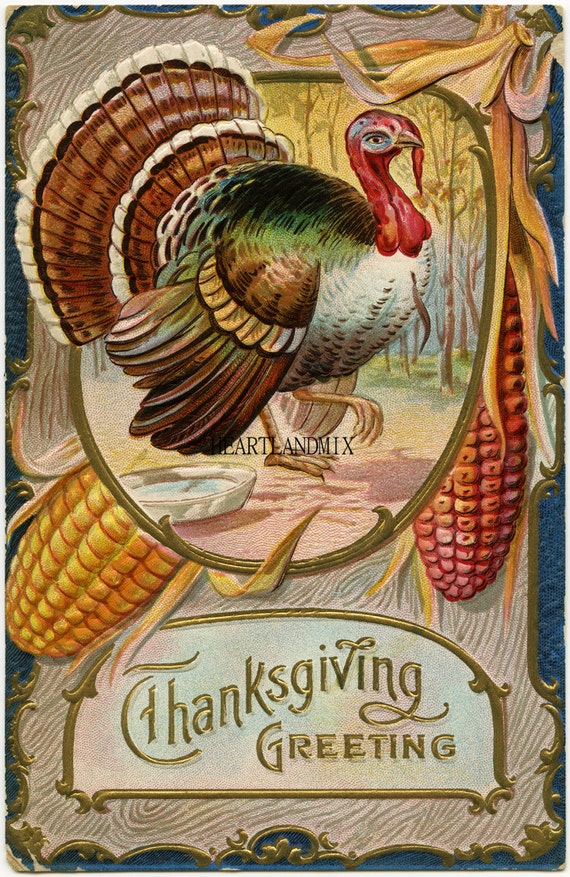 Happy Thanksgiving Turkey Vintage Image Download Printable 300