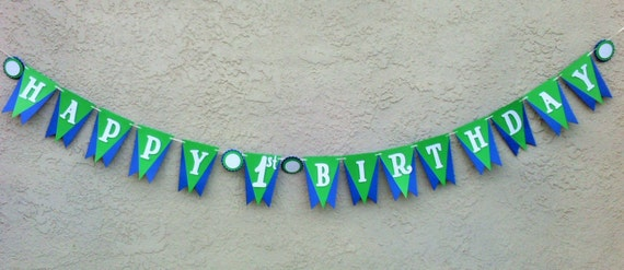 blue and green happy birthday banner blue birthday banner