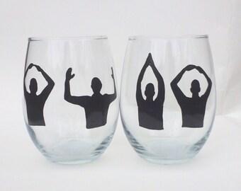 Stemless ohio state wine glass set
