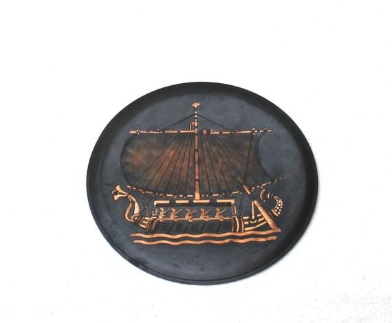 Art de cuivre grav plaque murale navire bateau mur d cor for Decoration murale cuivre