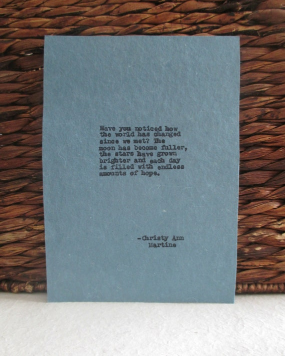 Love Gift Romantic Quotes Typed With Vintage Typewriter Romance Falling In Love Anniversary or Birthday Gifts for Him or Her