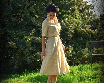 Vintage broderie anglaise Skirt & Blouse Set - Sartorial Cream Sangallo Suit
