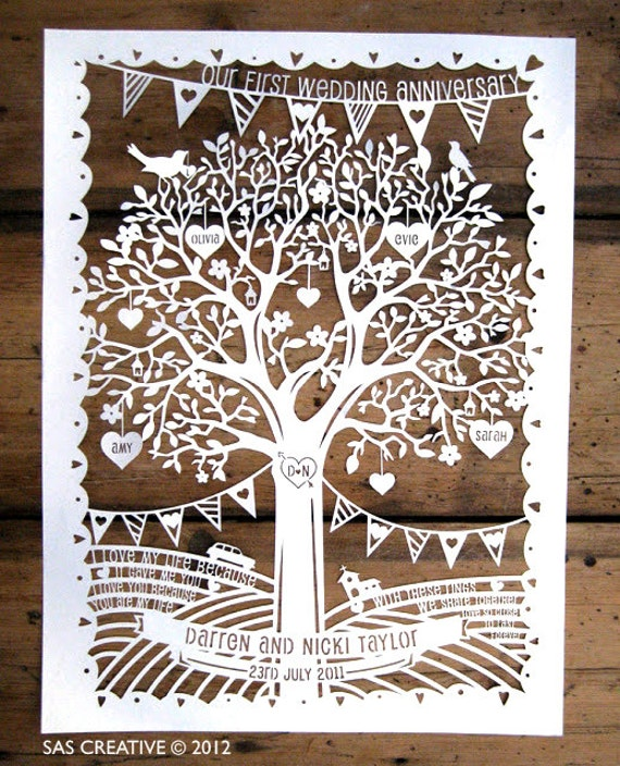 Family Tree / First Wedding Anniversary Papercut Template