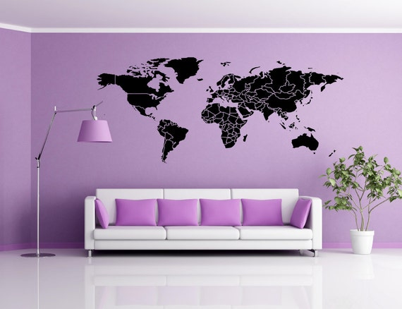 carte du monde sticker vinyle autocollant stickers home decor. Black Bedroom Furniture Sets. Home Design Ideas