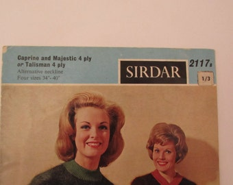 Vintage (1960s) knitting pattern, Sirdar women's jumper 'V' or round neck, four sizes 34 - 40 inches
