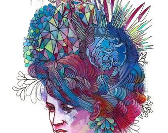 """Portrait Art Print - """"Hair Hat"""" - Decorative Pattern Painting - Colorful Woman's Portrait Art"""