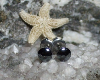 Shiny 5mm Hematite Stud Earrings Earings Titanium Post and Clutch Hypo Allergenic Handmade in Newfoundland Yang