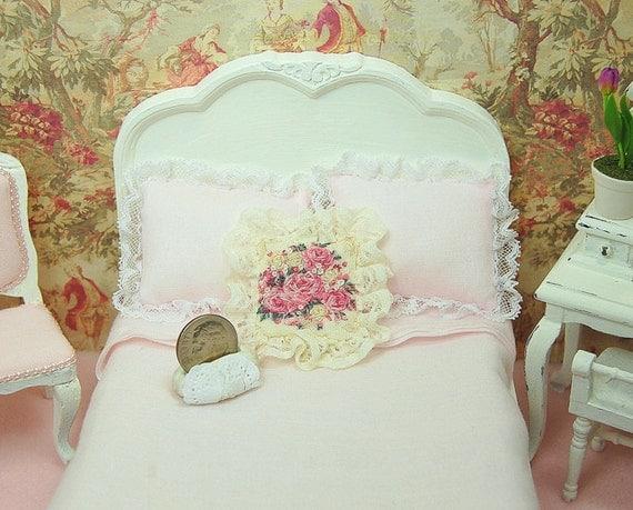 Handmade Shabby Chic Pillows : Dollhouse Pillow Handmade Shabby Chic Accent Hand Embroidered