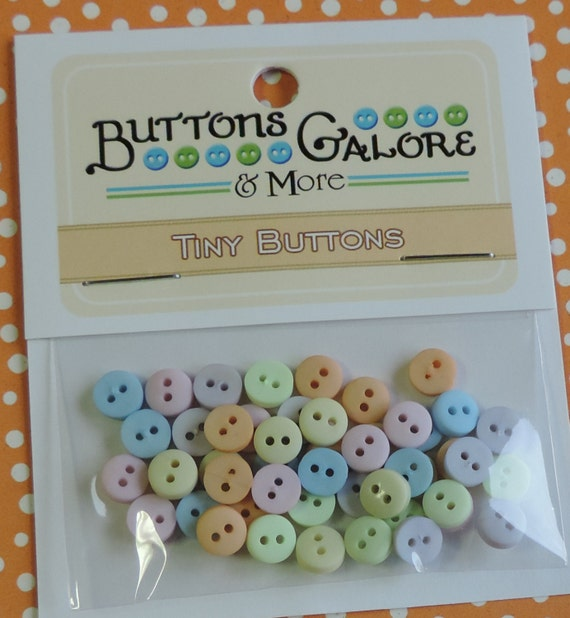 Pastel Tiny Buttons, Packaged Assortment, 2 Hole Buttons by Buttons Galore, Style #1348, Sewing, Crafting Round Buttons
