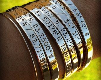 Custom Coordinates Location Cuff . Latitude and Longitude Jewelry . Personalized Best Friend GPS Jewelry