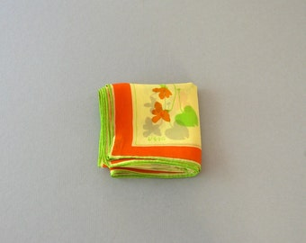 Early Vera Neumann Silk Scarf / Handkerchief Orange Violets