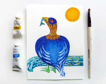 Bird Art, Water Bird, Colorful Bird Painting, Blue Whimsical Bird with Fish, Fishing Bird, Gouache Painting