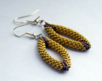 Beaded Earrings / Green Delica Earrings / Delica Beadwork / Earrings / Handmade Earrings