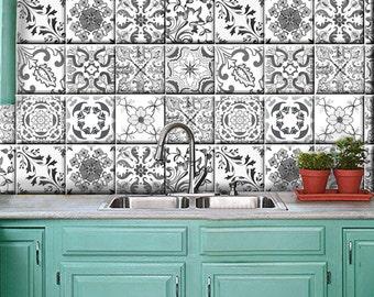 grey portugal kitchen bathroom backsplash vinyl decals removable