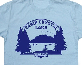 Camp Crystal Lake T Shirts Horror T Shirts Halloween T Shirts Funny Halloween Shirts Horror movie shirts Camp Crystal Lake Counselor Tee