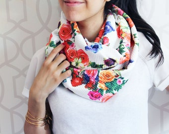 Floral Infinity, Circle Scarf, Scarf, Infinity Scarf,Floral Scarf,  Floral Print,  accessories, Chunky Scarf, Circle Scarf, Gift for her