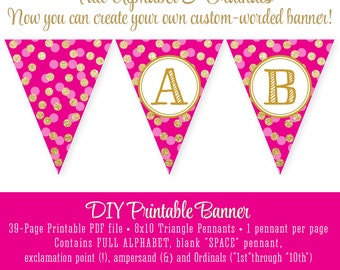 Magenta Bright Pink Gold Glitter FULL ALPHABET Pennant Banner - Custom Printable Birthday Baby Shower Sparkle Party Bachelorette Bridal