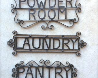 Powder Room, Laundry, Pantry Sign, Metal Bathroom Sign, French Decor, Bath