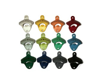 Wall bottle opener pick your color, groomsman gift, dad gift, beer opener, man cave decor, cast iron opener, stock the bar, stocking stuffer