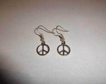 Peace Sign Earrings, Silver Earrings, Charm Earrings, Peace Earrings, Peace Gift, Peace Symbol
