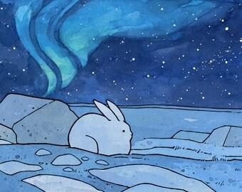 Snowshoe Hare Northern Lights Art Print 5x7