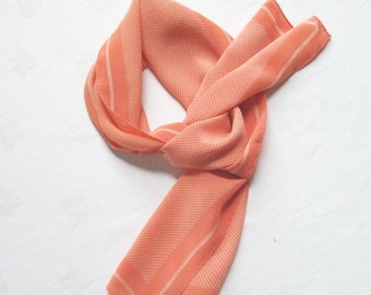 Long Peach Silk Scarf Polka Dots Vintage Albert Nipon