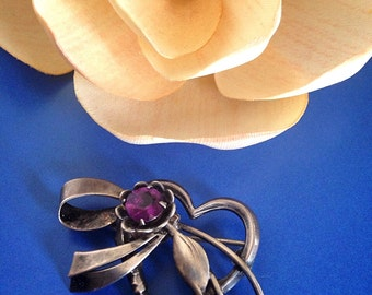 Reduced Sale Art Deco Sterling Silver Amethyst Rhinestone Brooch- Pin- Pendant
