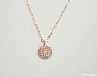 Pave Diamond Rose Gold Disc Necklace, Rose Gold Filled Pendant, Genuine Diamonds,