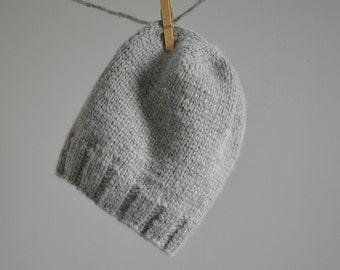 Gray Knit Baby Alpaca Hat / Men's Grey Baby Alpaca Hat / Free US Shipping