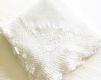 Vintage Shabby Chic Handstitched Snow White Table Linen, Cottage Home, Olives and Doves