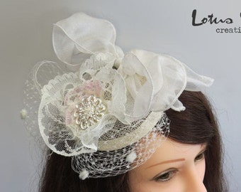 Bridal Fascinator, Hair Accessory, Ivory Cream Pink, with Lace, Veiling & Jewelled Flower. Bridal Headpiece
