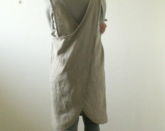 NATURAL LINEN APRON / women / linen pinafore dress / smock tunic / cafe apron / linen clothing / plus size / made in australia by pamelatang