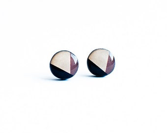 Brown stud earrings geometric jewelry nickel free post earrings