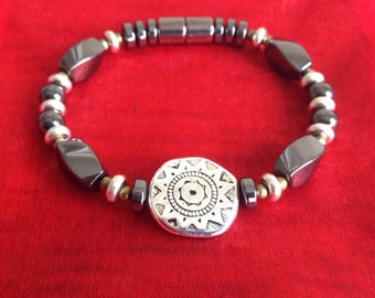 Magnetic Bracelet with Silver Sun Medallion and Extra~Strength Magnetic Clasp!