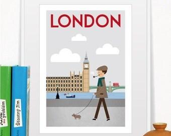 City Prints London, City retro poster, Art print, Home decor, Wall decor, Size A3 or 11 x 14