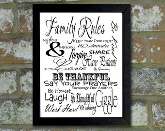 "Digital Download Typographic Print Wall Art ""Family Rules"" Instant Download Printable Art Printable Word Art Black and White Home Decor"