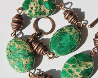 Green Bracelet Imperial Jasper Bracelet Beadwork Beaded Bracelet Earthy Copper Bracelet Semi precious Bracelet Gift for her Gift ideas