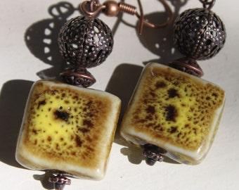 Yellow Earrings Mustard Earrings Earthy Ceramic Earrings Porcelain Earrings Dangle Copper Earrings Boho chic Earrings Jewelry Earrings