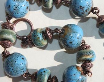 Blue Bracelet Blue GreenTurquoise Bracelet  Beadwork Bracelet Earthy Bracelet Copper Bracelet Ceramic Bracelet Beaded Boho Bracelet Jewelry