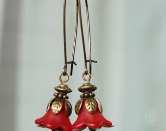 Red Earrings Flower Earrings Lucite Flower Dangle Earrings Jewelry long Earrings