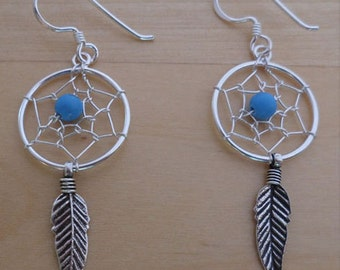 Turquoise Stone, Feather, Spider Web Dream Catcher Earrings, 925 Sterling Silver