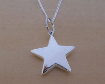 """925 Sterling Silver Puffed 22 mm Star Pendant, Charm on 16, 18 or 20"""" Curb Chain"""