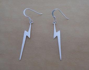 925 Sterling Silver Drop Dangle Lightning Earrings